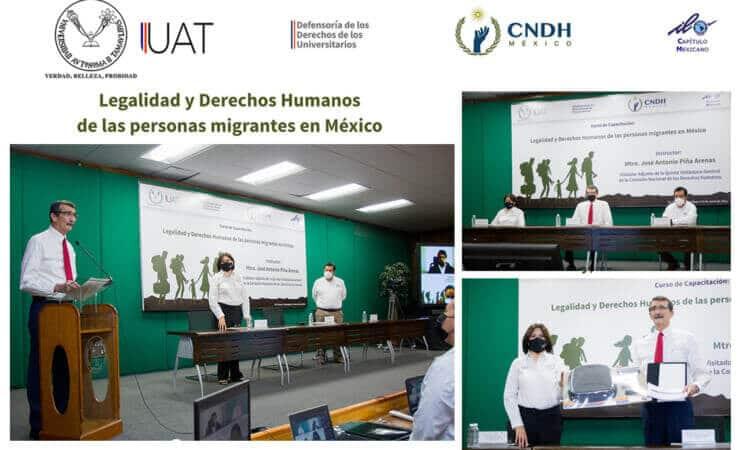 Inaugura Rector de la UAT curso sobre derechos humanos de personas migrantes